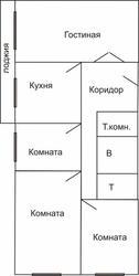 4х комнатная 1/2,  79кв.м.